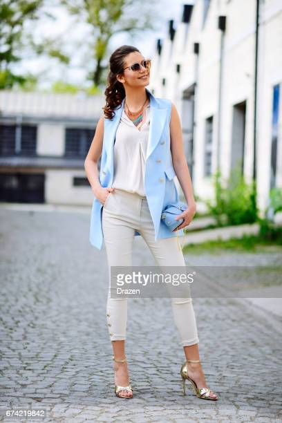 businesswoman in pants and high heels with make up - tall person stock pictures, royalty-free photos & images