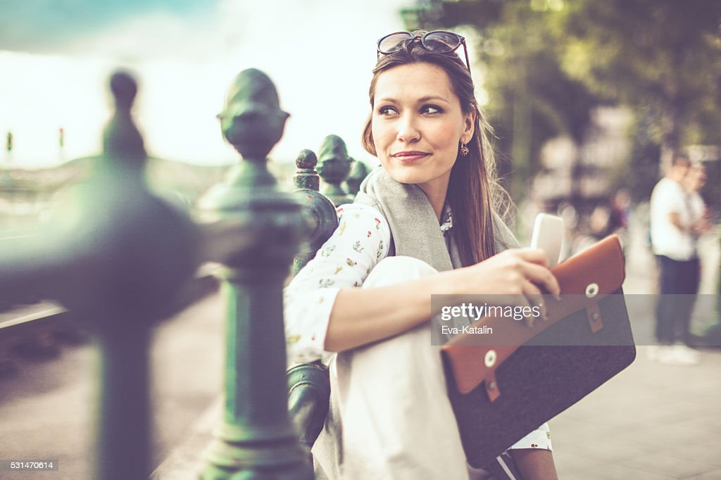 Businesswoman in the city : Stock Photo