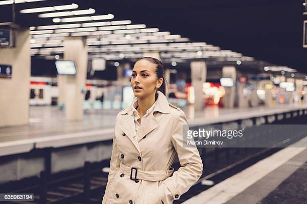 Businesswoman in the subway