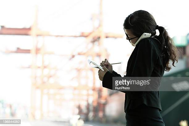 businesswoman in the the construction site