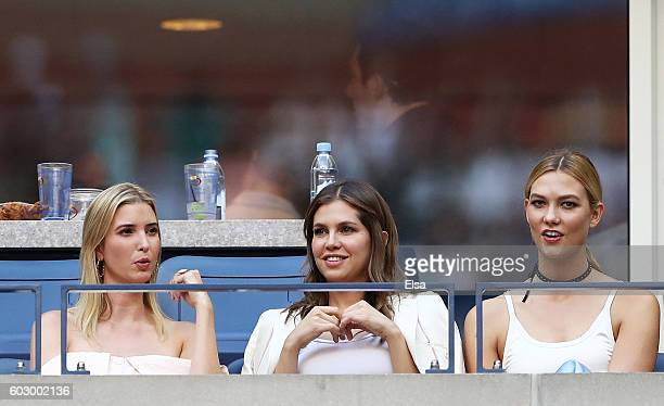 Businesswoman Ivanka Trump business woman Dasha Zhukova and model Karlie Kloss attend the Men's Singles Final Match between Novak Djokovic of Serbia...