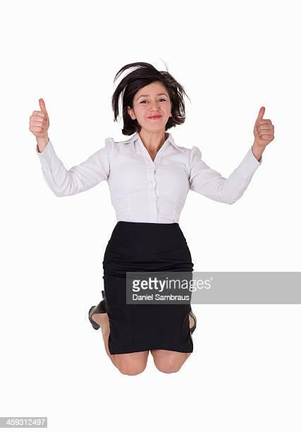 Businesswoman jumping