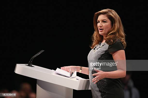 Businesswoman Karren Brady addresses the audience in the Main Hall of Manchester Central on the second day of the Conservative Party Conference on...