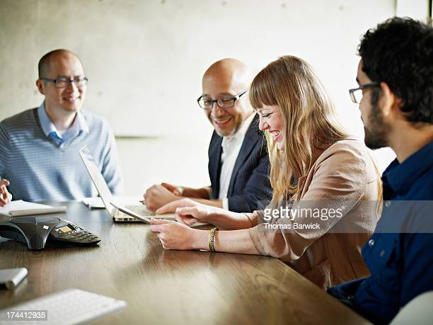 Businesswoman leading group project discussion