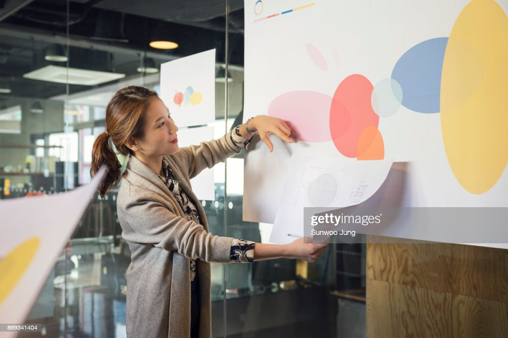 Businesswoman leading presentation in conference room : Stock Photo