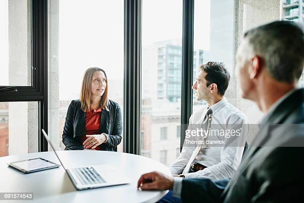 Businesswoman leading project discussion