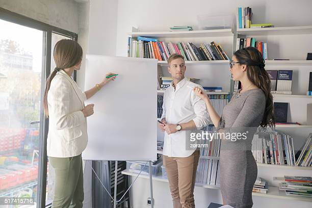 Businesswoman leading staff meeting