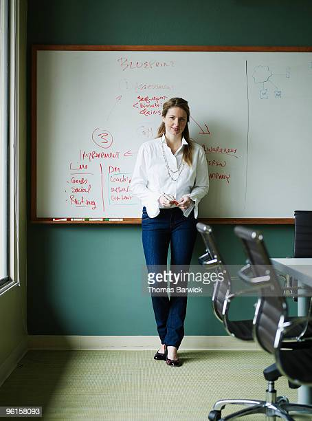Businesswoman leaning against whiteboard