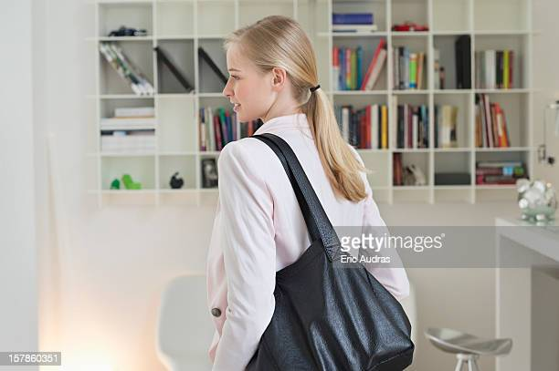 Businesswoman leaving for office