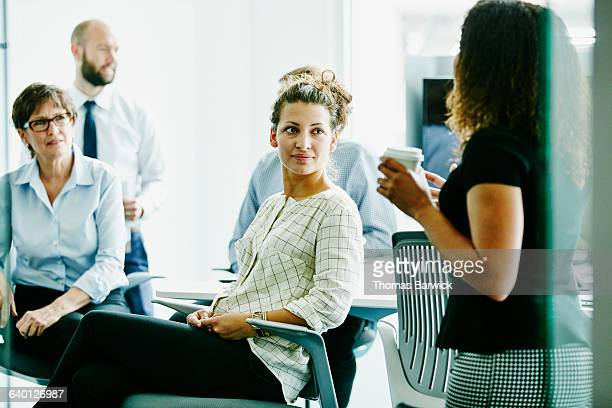 Businesswoman listening during meeting