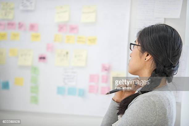 Businesswoman Looking at a Design Board
