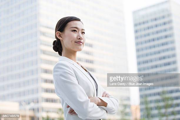 Businesswoman looking at view