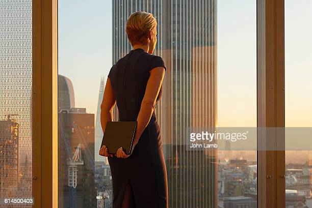 businesswoman looking to the future - women in see through dresses stock photos and pictures