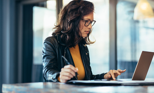 Businesswoman making notes looking at a laptop 1063296664