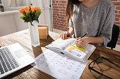 Businesswoman Making Schedule On Personal Organizer