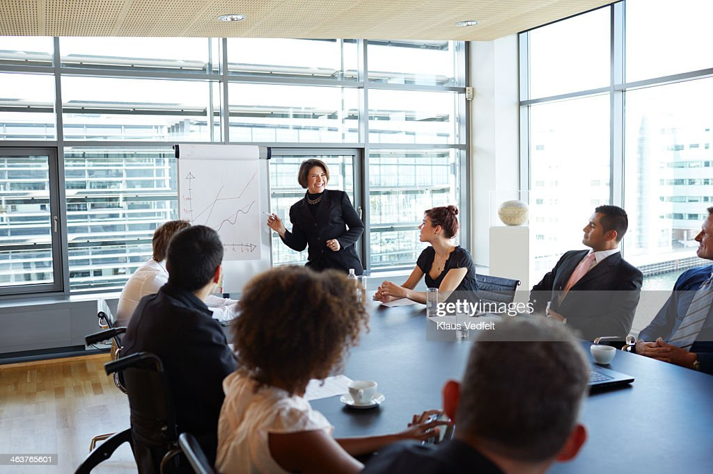 Businesswoman making strategy presentation : Stock Photo