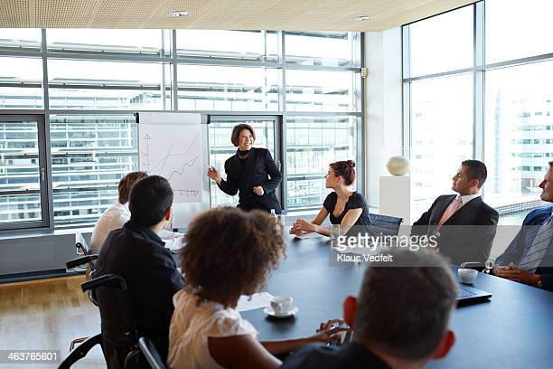 Businesswoman making strategy presentation