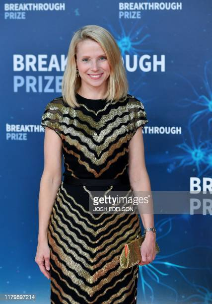 US businesswoman Marissa Mayer arrives for the 8th annual Breakthrough Prize awards ceremony at NASA Ames Research Center in Mountain View California...