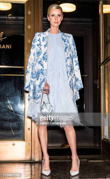 Businesswoman Nicky Hilton Rothschild is seen arriving to Oscar De La Renta fashion show at the Cunard Building during New York Fashion Week on...