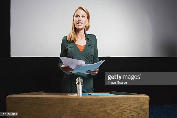Businesswoman on podium