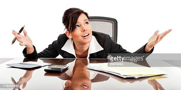 Businesswoman Overwhelmed by Bills