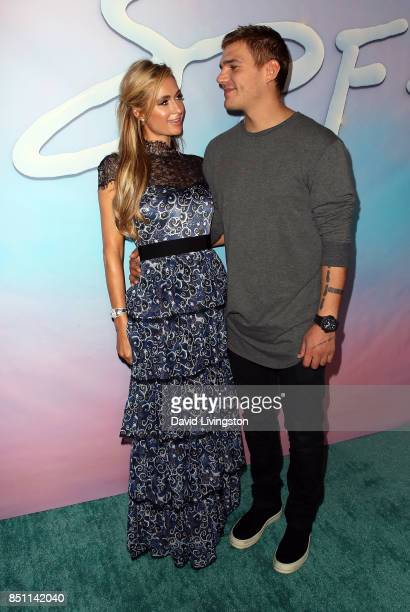 Businesswoman Paris Hilton and actor Chris Zylka attend the premiere of Alex Israel's 'SPF18' at University High School on September 21 2017 in Los...