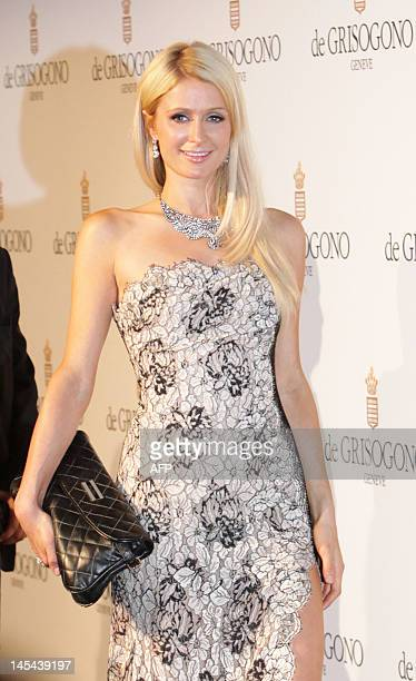 Businesswoman Paris Hilton attends the Grisogono Party at the Hotel Eden Roc in Antibes during the 65th Cannes film festival on May 23, 2012. AFP...