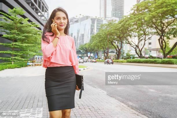 Businesswoman Phone Call Kuala Lumpur Malaysia