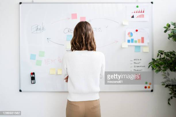 businesswoman planning while standing against whiteboard at office - brown hair stock pictures, royalty-free photos & images