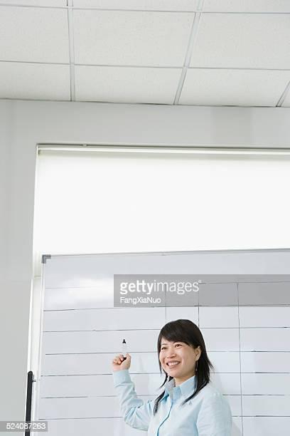 指しているビジネスウーマンにフリップチャート、ペン、笑顔