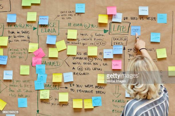businesswoman pointing at note on bulletin board - brainstormen stockfoto's en -beelden