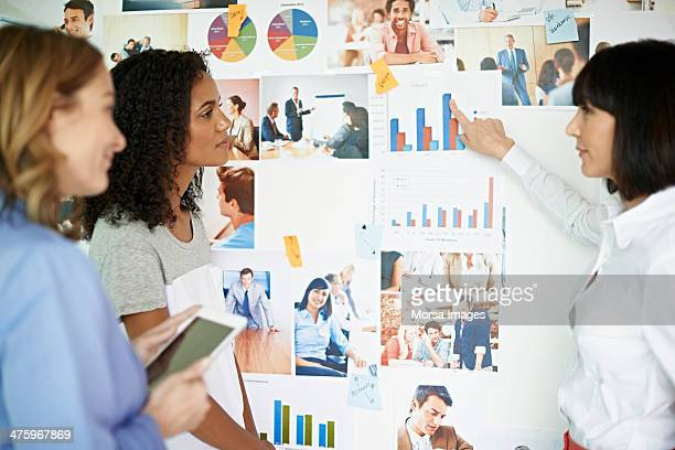 Businesswoman pointing out on graph