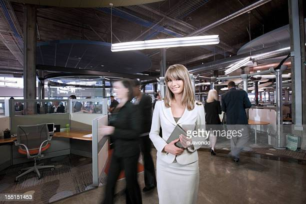 Businesswoman Portrait at Office Interior, Coworkers in Motion Blur
