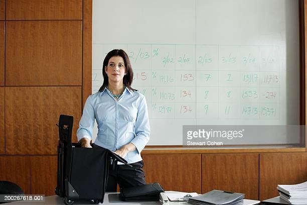 Businesswoman preparing for seminar