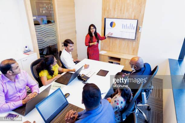 businesswoman presenting annual report in a board meeting - indian ethnicity stock pictures, royalty-free photos & images