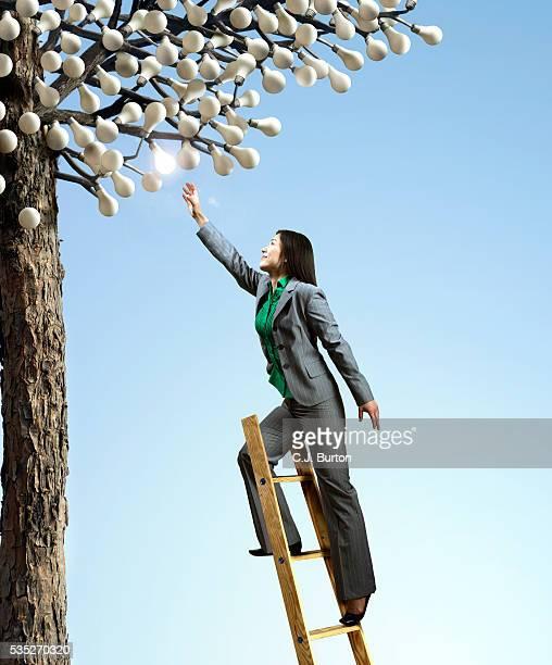 Businesswoman reaching for an idea