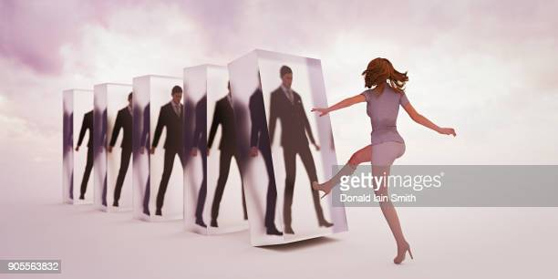 Businesswoman replacing businessmen