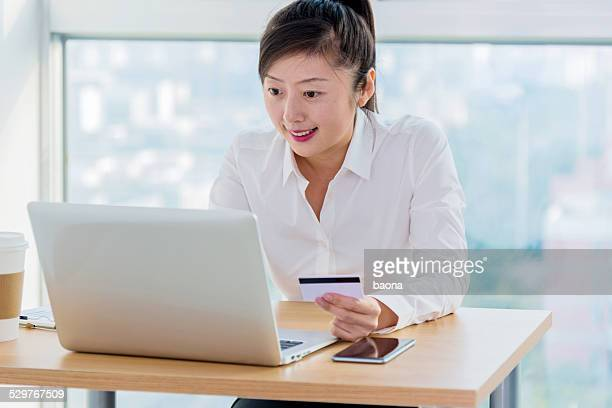 businesswoman shopping online