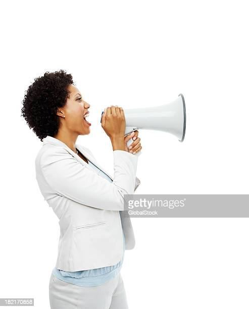 Businesswoman shouting on megaphone