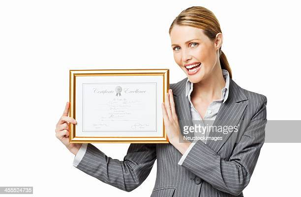 Businesswoman Showing an Award - Isolated