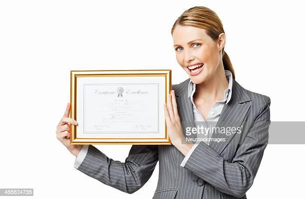 Mujer de negocios mostrando un aislado
