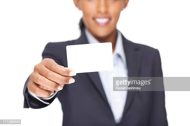 Businesswoman showing blank business card.