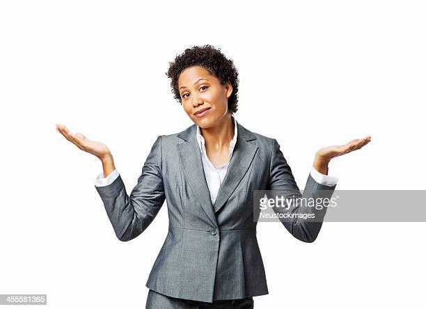 empresaria encogiéndose de sus hombros-aislado - encogerse de hombros fotografías e imágenes de stock