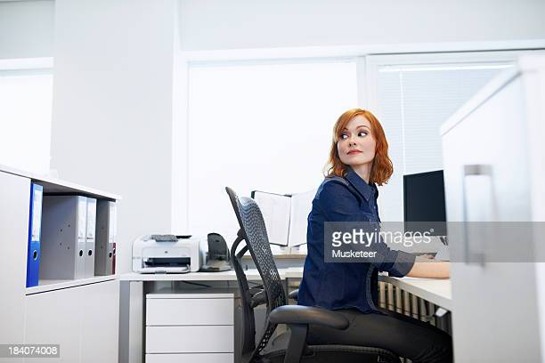 Businesswoman sitting at a desk