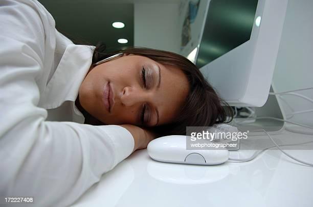 businesswoman sleeping at work