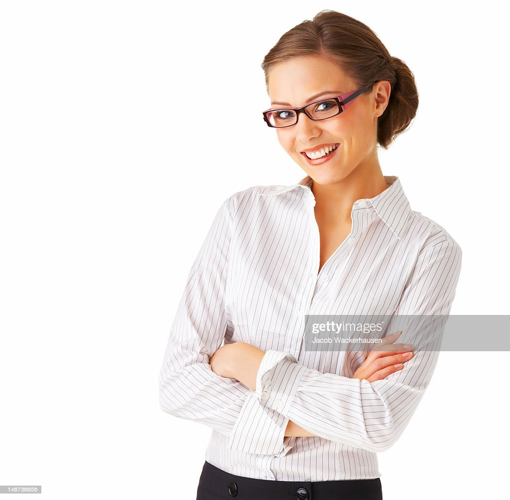 Businesswoman standing against white background : Stock Photo
