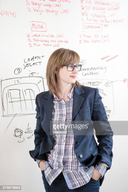 Businesswoman standing at whiteboard in office