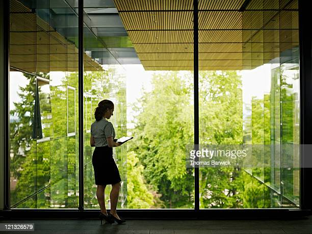 Businesswoman standing at windows in office