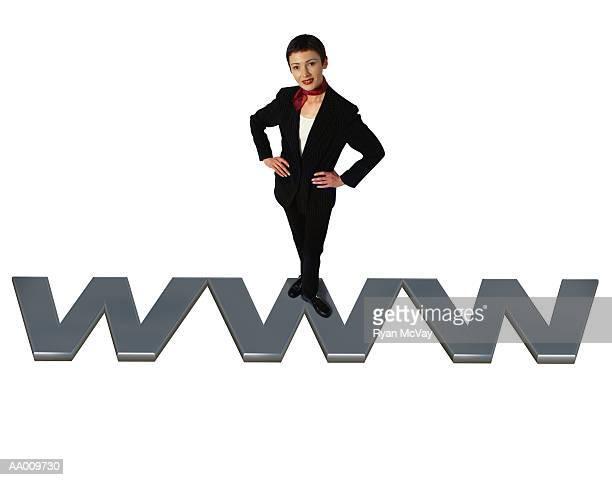 Businesswoman Standing on a WWW Acronym