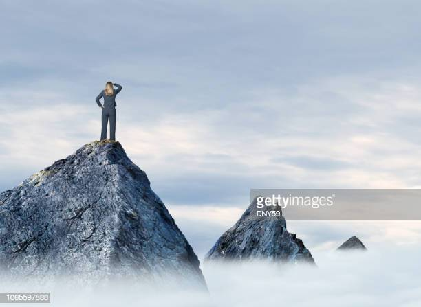 businesswoman standing on mountain top - distant stock pictures, royalty-free photos & images